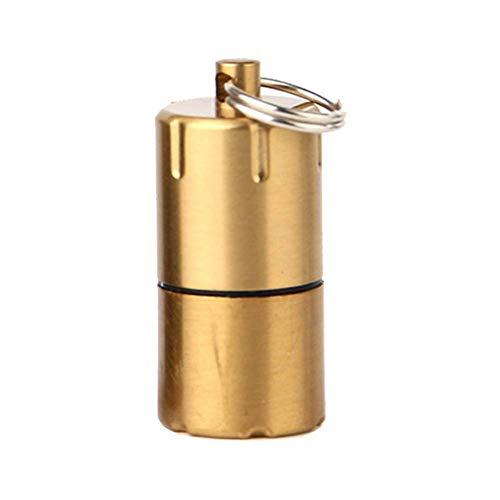 Techwills Mini Keyring Feuerzeug, Kerosinfeuerzeuge Schlüsselanhänger Benzin Schlüsselanhänger Camping Outdoor Notfall Feuer Starter Picknick Werkzeug (Gold) (Schlüsselanhänger Fire Starter)