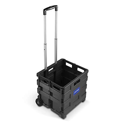 JOM Klapptrolley, Einkaufstrolley mit Teleskopgriff aus Aluminium, schwarz, Klapp- und Faltmechanismus -