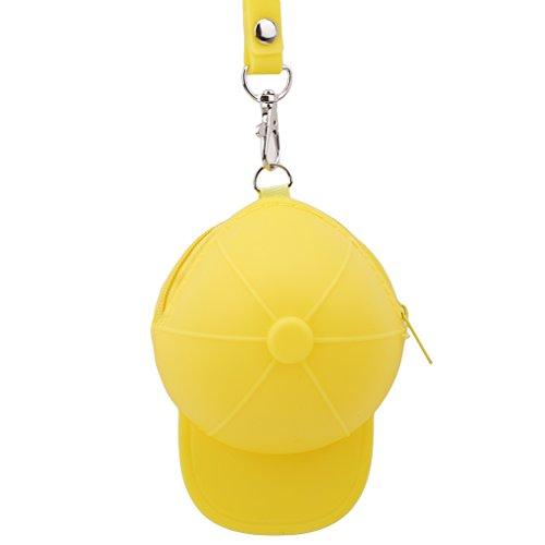 SUNSKYOO Nette Silikon-Münzen-Beutel-Schlüsselring-Geldbörsen MiniBaseballmütze-Geldbeutel-Reißverschluss-Karten-Halter-Handtasche Wasserdichte Handtasche, ()