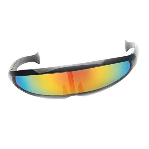 Sharplace Futuristische Schmale Farbe Verspiegelte Linse Visor Sonnenbrille Partybrille Funbrille Spaßbrille Kostüm Zubehör - Schwarz Gelb