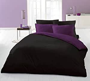 toolzone wendebettw sche spannbettlaken super king size schwarz violett k che. Black Bedroom Furniture Sets. Home Design Ideas