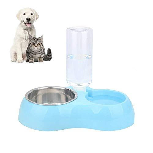FONLAM Comedero Bebedero Automático para Perro Gato Dispensador Botella de Agua Comida Mascota Cachorro 2 en 1 (S, Azul)
