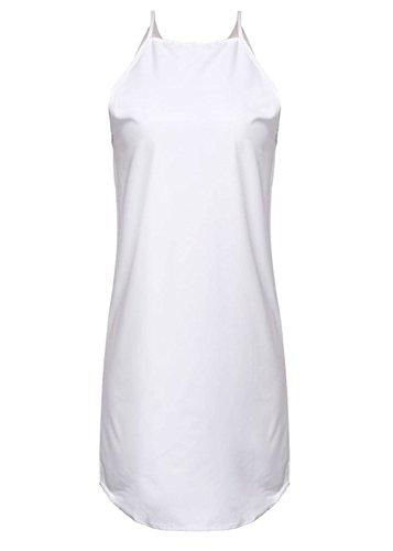 ZANZEA Sexy Femme Col Roule Soirée Sans Manches Mini Robe Blanc