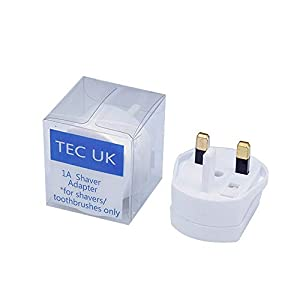 TEC UK - 2 Pin To 3 Pin 1A Fuse Adaptor Plug For Shaver/Toothbrush - ( 1 PLUG IN RETAIL PACK)
