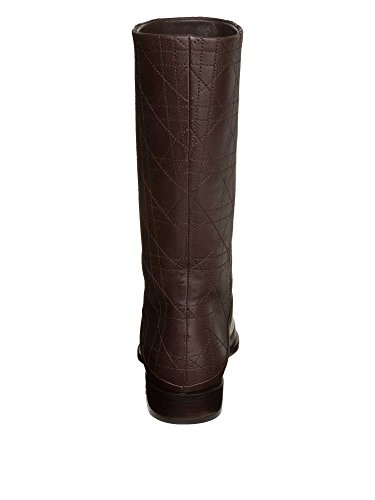 Christian Dior Femmes Bottes cuir véritable marron foncé