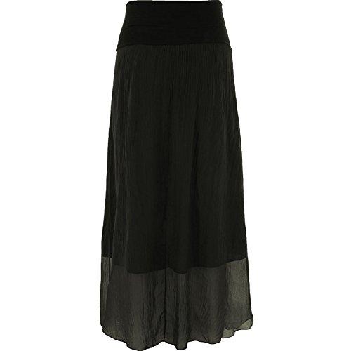 Damen-Frauen Italienisch Lagenlook Plain Silk Maxi langer - Schwarz Seide-rock