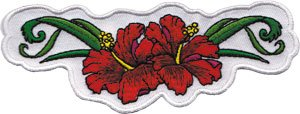 HIBISCUS FLOWERS Red, Officially Licensed Original Artwork, High Quality Iron-On / Sew-On, 4