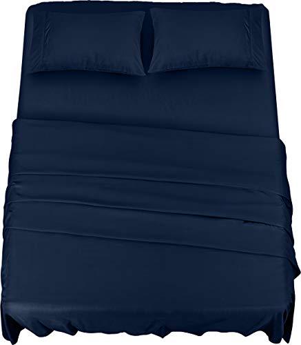 Utopia bedding - set lenzuola letto - spazzolata microfibra - lenzuola e 2 federe - per la letto 135 x 190 cm (blu navy, una piazza e mezza)