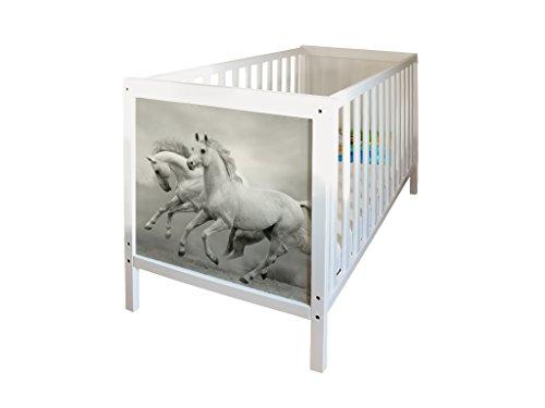 YOURDEA - Tattoo für IKEA Sundvik Babybett mit Motiv Wilde Pferde inklusive Rakel SET
