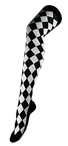 Womens Over The Knee Thigh High Argyle Diamond Long Socks Harlequin (UK 4-7) in Black and White