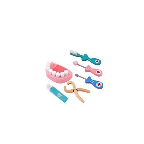 Doktor Kostüm Kleinkind - Nider Holz Zahnarzt Toy Arzt Kit Pretend Zahnarzt Werkzeuge Medizinisches Set für Kleinkinder Kostüm Doktor Rollenspiele Spielen Schule Klassenzimmer pädagogisches Spielzeug 6Pcs