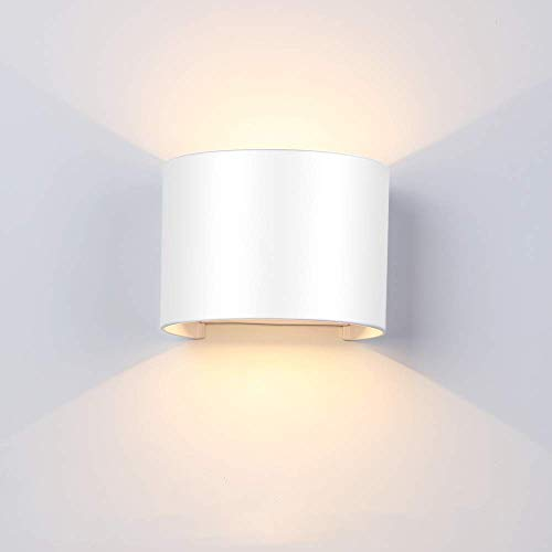 12W Applique Led Murale Interieur Exterieur Lampe de Mur Blanc Chaud Moderne Etanche Blanc Decoration pour Chambre Bureau Salon Salle de bain Couloir