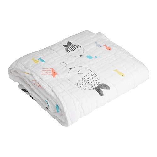 Manta de muselina para bebé, ultra suave, absorbente, de algodón orgánico Fish
