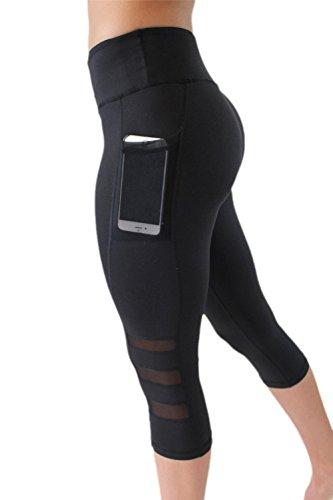 Hippolo Leggings Damen Laufhose, Fitness Yoga Sporthose High Waist Luftdurchlässiges Textil-Netzgewerbe (M)