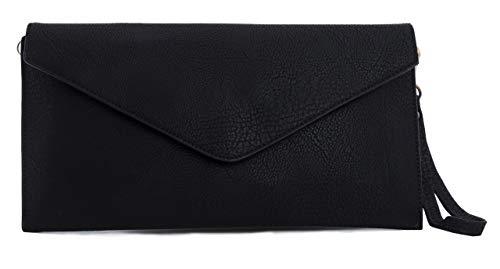 Big handbag shop pochette in eco pelle con tracolla lunga, nero