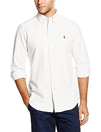 Ralph lauren polo by uomo button down oxford camicia standard fit white s