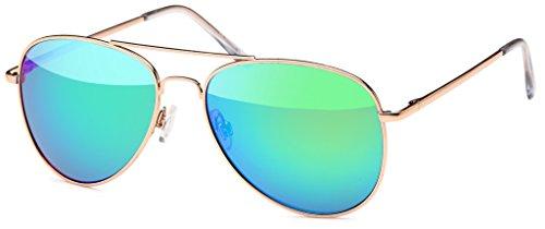 Pilotenbrille Sonnenbrille 70er Jahre Herren & Damen Sunglasses Fliegerbrille verspiegelt (Gold/Ice)