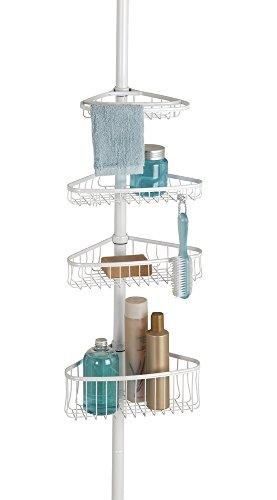 mDesign Teleskop Duschregal - ohne Bohren zu montierende Duschablage aus Metall - ideal für Shampoo, Rasierer, Schwämme und sonstiges Duschzubehör - perlmuttweiß -
