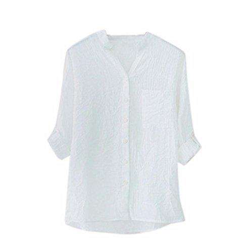 Weiche Baumwolle Solide Taste Hemd HARRYSTORE Damen Beiläufig Lange Ärmel Lose Bluse Oberteile (Weiß, XL) (Seide Langer Bluse Rock)
