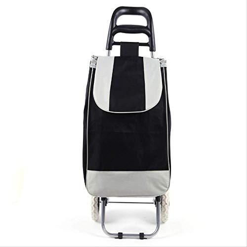WEN FENG Einkaufstrolley Treppensteiger Einkaufstrolley 45 L Einkaufswagen Stahlgestell klappbar Supermarkt Einkaufswagen 91 X 35 X 25 cm 45L schwarz
