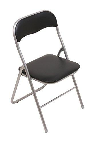 Produktabbildung von Set - 6x Klappstuhl mit Metallrahmen und Kunstlederbezug - silber-schwarz - Brandneu