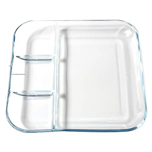 Zhao Li Platte aus gehärtetem Glas Hitzebeständige Trennplatte Frühstücksgitter Tablett Knödelschale Mikrowellenherd Dampfgarer, quadratisch/rund (Color : Square, Size : 10 inches) - Mikrowelle 10 Glas Zoll