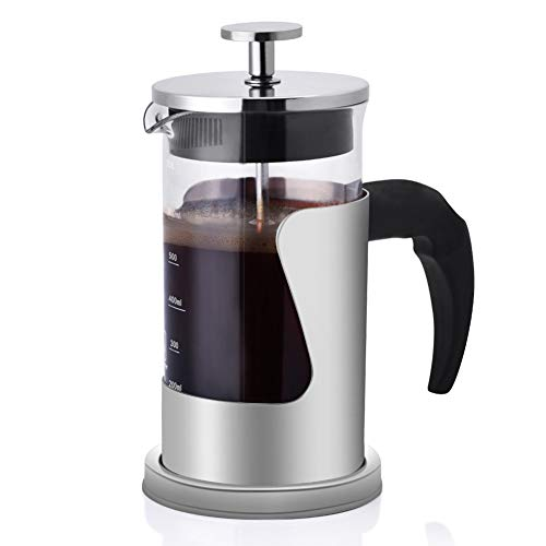 Orville Espresso-Kaffeemaschine, französische Presse, Edelstahl, hohe Borosilikatglas, 304 Grad 600 ml