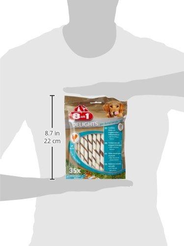 8in1 Delights Pro Dental Twisted Sticks (funktionaler und gesunder Kausnack, hochwertiges gedrehtes Hähnchenfleisch, Mineralien zur effektiven Plaqueentfernung bei Hunden), 35 Stück (190 g Beutel) - 6
