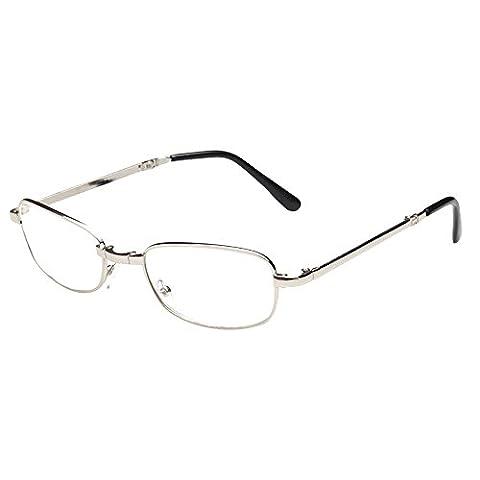 Skitic Anti-fatigue Lunettes de Lecture Pliable Pratique Glasses Eyewear +1.00, +1.50, +2.00, +2.50, +3.00, +3.50, +4.00 - élégant Argent Frame avec Pocket Zippered Box Case et Chiffon de Nettoyage (+3.00)