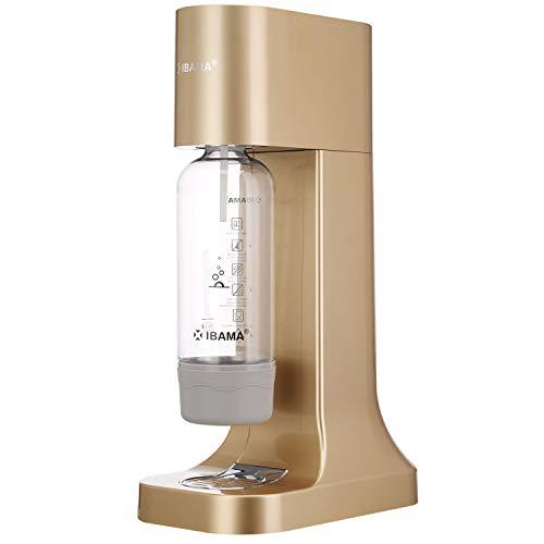 IBAMA Machine à Eau Pétillante et Soda avec 1L Pet Bouteille (sans BPA), pour Accueil/Bureau/Fête - Champagne Gold (carbonateur Non Inclus)