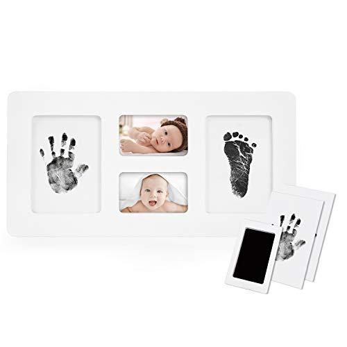"""Norjews Baby Handabdruck und Fußabdruck Fotoalbum mit Zwei""""CleanTouch"""" Stempelkissen, Babyhaut kommt nicht mit Farbe in Berührung, das ideale Babyparty Geschenk - Upgrade Version"""