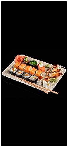 Wallario Selbstklebende Türtapete mit Schutzlaminat, Motiv: Sushi-Menü mit Inside-Out Sushi, Nigiri und Wasabi - Größe: 93 x 205 cm in Premium-Qualität: Abwischbar, brillante Farben, rückstandsfrei zu entfernen