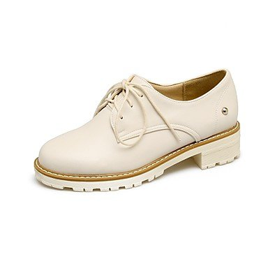 RTRY Donna Comfort Tacchi Primavera Autunno Pu Outdoor Office &Amp; Carriera Lace-Up Chunky Heel Mandorla Arrossendo Rosa Bianco 1A-1 3/4In US10.5 / EU42 / UK8.5 / CN43