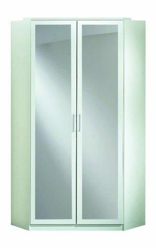 Wimex 147543 Eck-Kleiderschrank, 95 x 198 x 95 cm, 2-türig mit Spiegeln, Front und Korpus alpinweiß