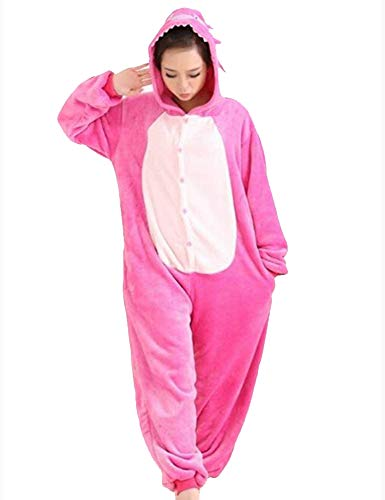 Hot unisex costume carnevale halloween festa party pigiama animali kigurumi cosplay zoo onesies tuta (small, stitch rosa)