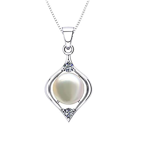 ONECK Necklace Silver Pearl Pendant Jewellery 925 Sterling Silver Freshwater