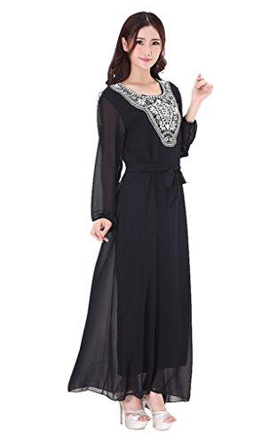 GladThink Donne Più Dimensione musulmano Chiffon Kaftan islamico Maxi Vestito Nero