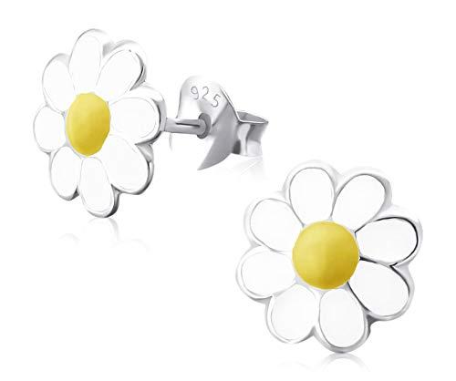 Laimons Mädchen Kids Kinder-Ohrstecker Ohrringe Kinderschmuck Gänseblume Blume Blüte weiß gelb süß 6mm aus Sterling Silber 925