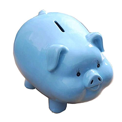 HRYP - Hucha de Cerdito para niños (cerámica, Personalizable, 23 x 17 x 17 cm), Azul, 23 * 17 * 17cm