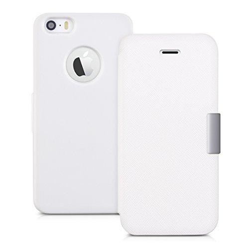 kwmobile Cover per Apple iPhone SE / 5 / 5S - Custodia protettiva apribile a libro Case stile flip in bianco