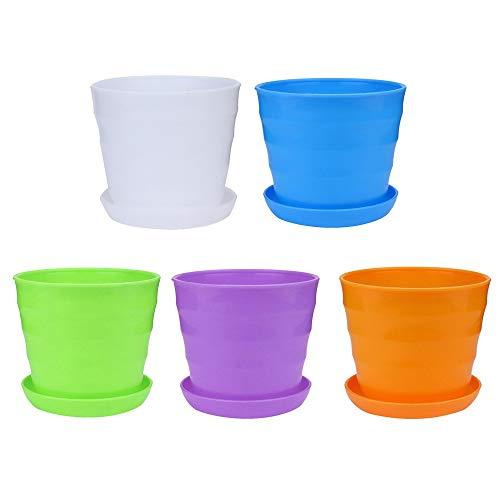 Upxiang 5pcs Multifonction Vase Pot de Fleurs en Plastique Pot de Plante Godet pour Semis Couleurs Balcon Jardin Home Decor (A)