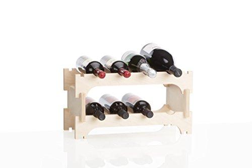 Xamonia WR2-8F Weinregal, Weinflaschenhalter aus Holz | stapelbar und stabil | erweiterbar in der...