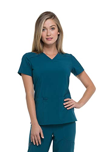 Dickies EDS Essentials by Women's V-Neck Solid Scrub Top XX-Small Caribbean Blue (Eds Dickies Scrubs)