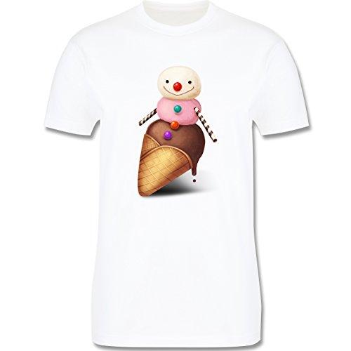 Statement Shirts - Eiscreme Schneemann - Herren Premium T-Shirt Weiß
