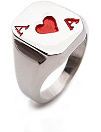 K Mega Jewelry Red Poker Playing Card Stainless Steel Mens Ring