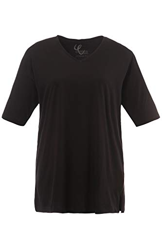 Ulla Popken Große Größen Damen T-Shirt, V-Ausschnitt, Schwarz (schwarz 10), 58/60 - Schwarz Shirt V-schnitt