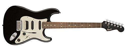 Squier por Fender Stratocaster Guitarra eléctrica contemporánea–HSS–Diapasón de Palisandro), color negro metálico