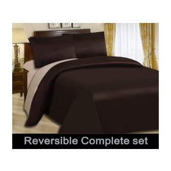 6pc Complete Double Bed Reversible Chocolate Brown Latte Duvet Cover Bed Set