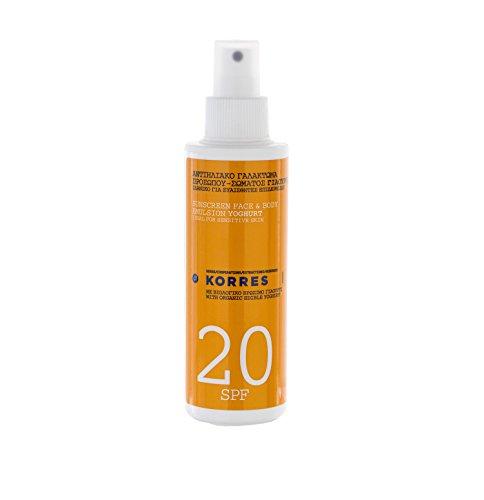 Korres Yoghurt Sonnenemulsion für Gesicht und Körper SPF 20,1er Pack (1 x 150 ml) - Lotion 30 Spf Körper