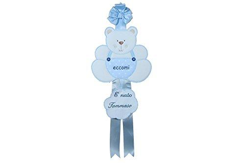 Coccole- fiocco nascita coccarda per nascita orso - azzurro - 0 mesi con nome personalizzato